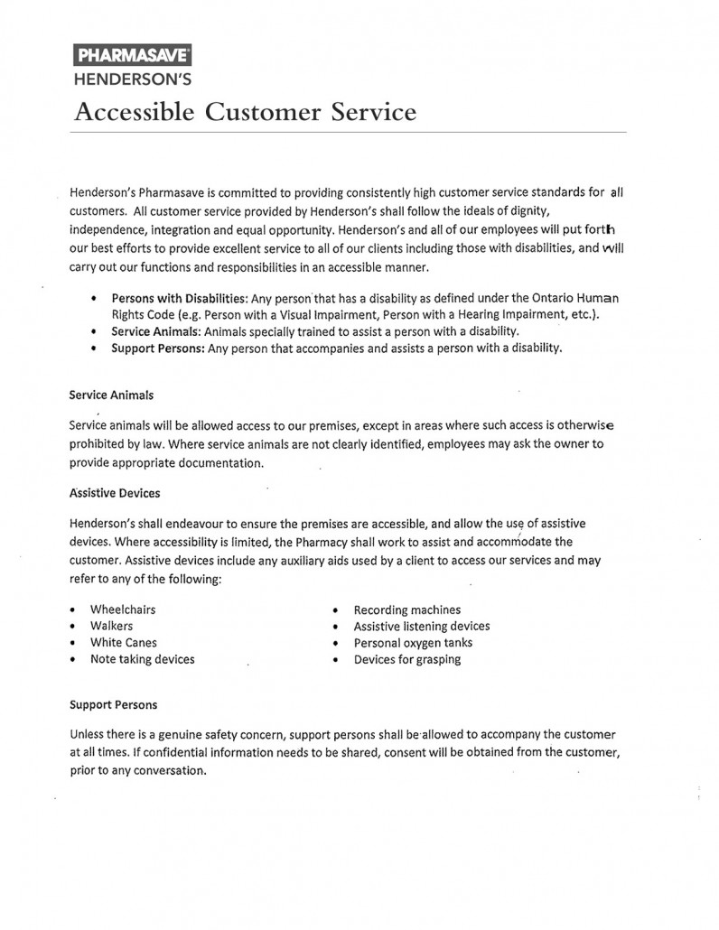 aoda policy template - perfect customer service policy template component