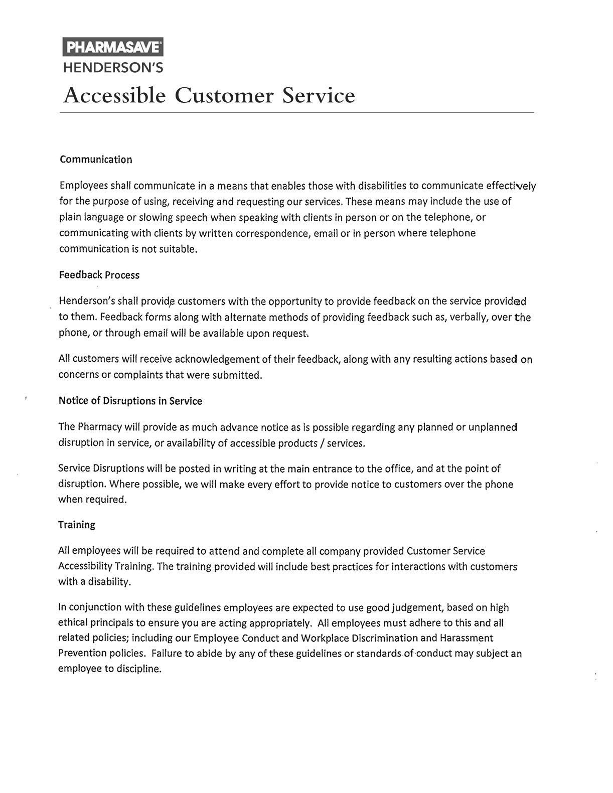 AODA Customer Service Policy Henderson Pharmacy
